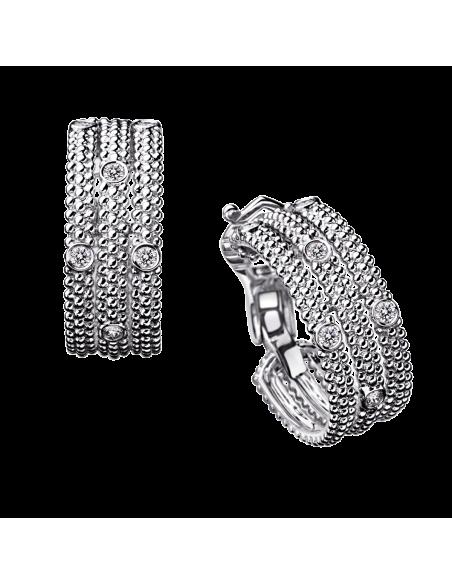 Boucles d'oreilles PREMIER JOUR or blanc, pavage aléatoire diamants